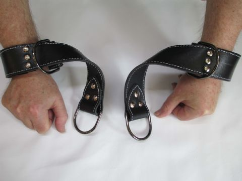 Pair of British Bridle Leather/Neoprene lined  Quick Wrist Cuffs